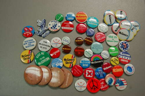 Huge Political Pin/Button Lot of 65  George McGovern