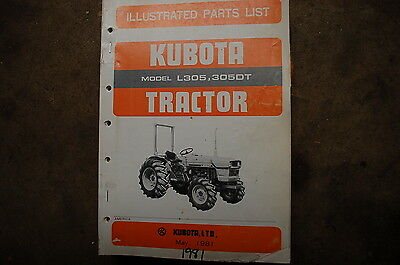 Kubota L305 305dt Tractor Parts Manual Book Catalog List Spare Farm 1981 Factory