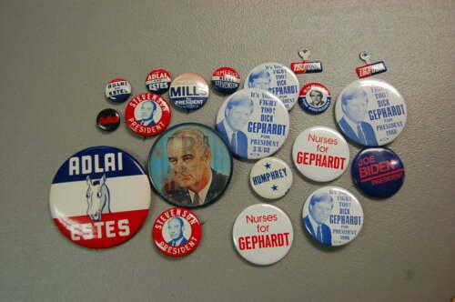 Presidential Political Pin/Button Lot of 18  Stevenson Gephardt Biden Mills