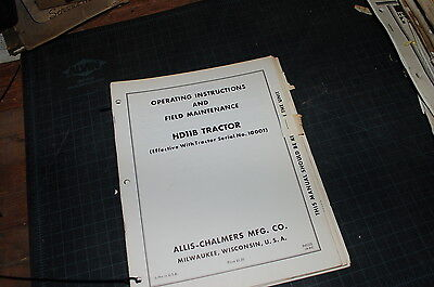 Allis Chalmers Hd11b Tractor Crawler Dozer Owner Operator Operation Manual Book