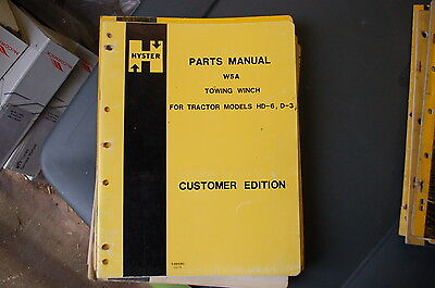 Hyster W5a Towing Winch Parts Manual Book Catalog List D3 Hd6 Cat Tractor Dozer