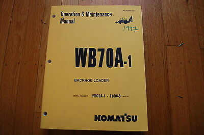 Komatsu Wb70a-1 Backhoe Loader Operation Maintenance Manual Book Operator Guide