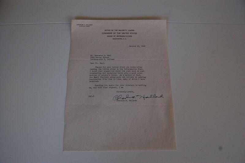 1948 Charles Halleck Congress Signed Letter Majority Leader