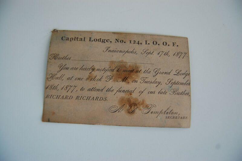 1877 Indianapolis Indiana Capital Lodge I.O.O.F. Postcard / Funeral Notice