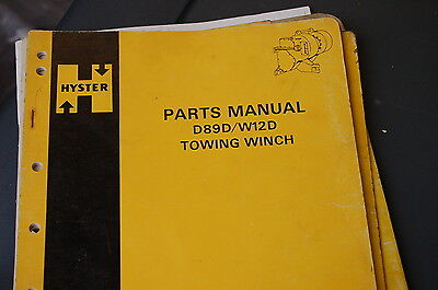 Hyster D89d W12d Towing Winch Parts Manual Book Catalog List Cat Tractor Dozer