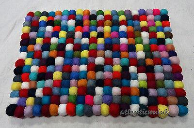Felt Rectangular Carpet - C12 Hand Crafted Multi Felt Ball wool Decorative Cushion Rectangular Rug Pad