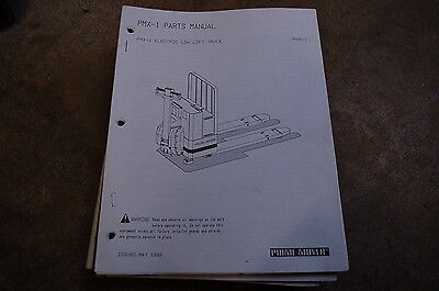 Bt Prime Mover Pmx-1 Electric Low Lift Pallet Truck Parts Manual Catalog Book