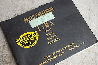 Lima Type 604 Shovel Crawler Excavator Parts Manual Book Catalog Spare Drag Line
