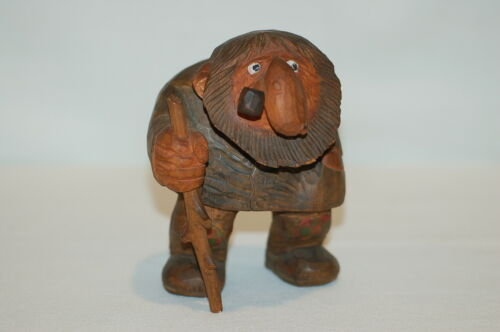 Vintage Anton Sveen Hand Carved Wood Troll Figurine With Pipe and Cane - Norway
