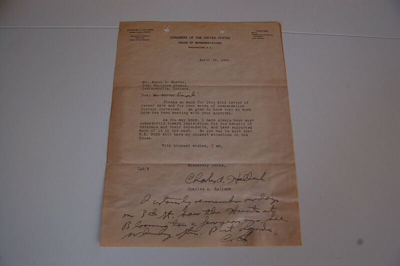 1940 Charles Halleck Congress Signed Letter