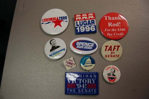Lot of 10 Political Pins/Buttons  Senate  Taft, Weicker, Tunney, Glenn,  etc.