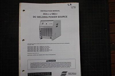 Esab 452cv 582cv Welding Power Source Partsserviceoperator Manual Owner Welder