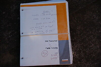 Case 360 Trencher Parts Manual Book Catalog Spare Ditcher Plow 1993 Index List