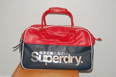 Superdry Travel Weekend Bag Gym Overnight Bag Red & Blue 19x11x7