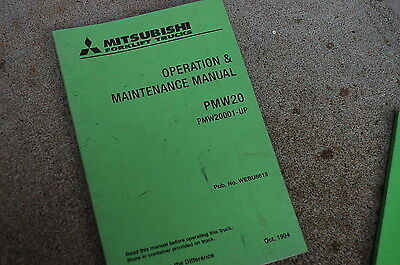 Mitsubishi Pmw20 Forklift Truck Operation Owner Operator Maintenance Manual Book