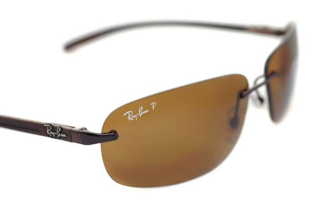 1bb9f7f2791 ... spain ray ban tech carbon fibre polarized rb8303 014 83 rimless sport  sunglasses brown b7d3b 7675d ...