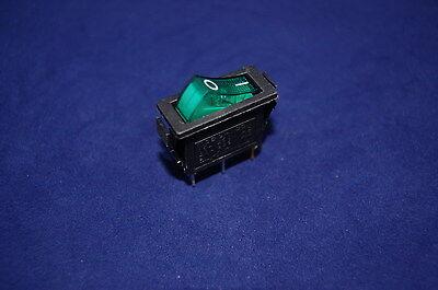 5 Pcs Green Light Illuminated 2 Position Rocker Switch 3 Pin 24v Acdc Rectangle