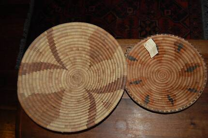 TWO African Woven Baskets Bowls Handmade Art Display Hilton Fremantle Area Preview