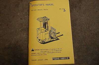 Bt Prime Mover Rr30c Reach Truck Electric Forklift Operator Manual Owner Book