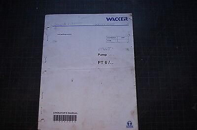 Wacker Pt6 Trash Pump Operation Operator Manual Diesel Pumpset Centrifugal Book