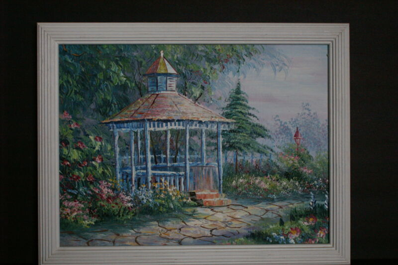 Vintage 1997 Garden Scene Oil Painting By K. Wallis