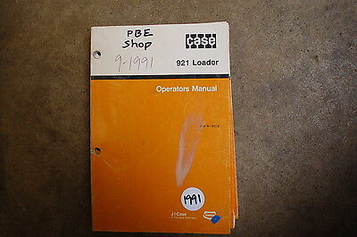 Case 921 Front End Wheel Loader Owner Operator Operation Maintenance Manual Book
