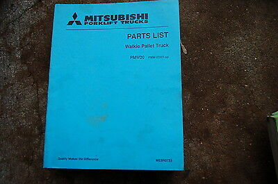Mitsubishi Pmw20 Electric Powered Pallet Walkie Forklift Parts Manual Book List