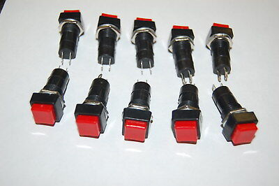 SPST Momentary Red Square Push Button Switch Off/On 250V/3A (10 pcs.)