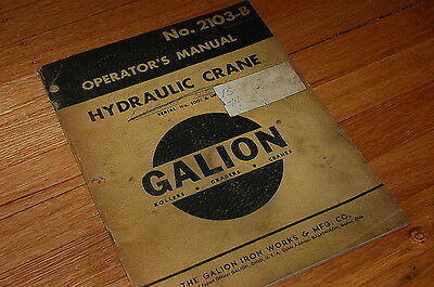 Galion Truck Crane 90 110 125 Owner Operator Operation Maintenance Manual Book