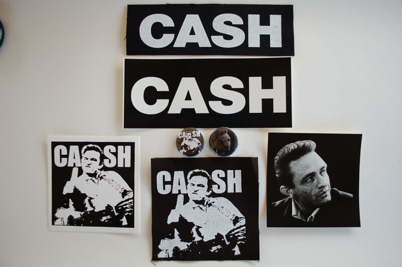 Johnny Cash Sticker Button Pin Cloth Patch Rock Music Country Set Lot Of 7items
