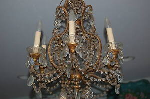 Antique VTG Italian French Beaded Crystal Prisms Chandelier Macaroni Beads Gilt
