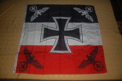 Reichsflagge mit Eiserenem Kreuz und 4 Reichsadlern DR Fahne 120 x 120 cm #2