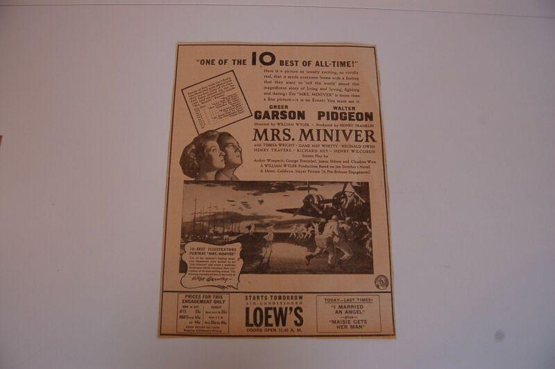 Group of 2 Circa 1942 Mrs. Miniver Movie Original Newspaper Ads