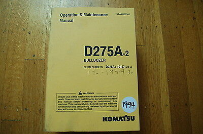Komatsu D275a Tractor Dozer Crawler Owner Operator Operation Maintenance Manual