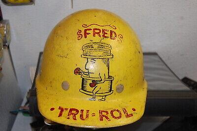 Vintage Fiberglass Superglas Fibremetal Hard Hat Union Pipefitter Folk Art Steam