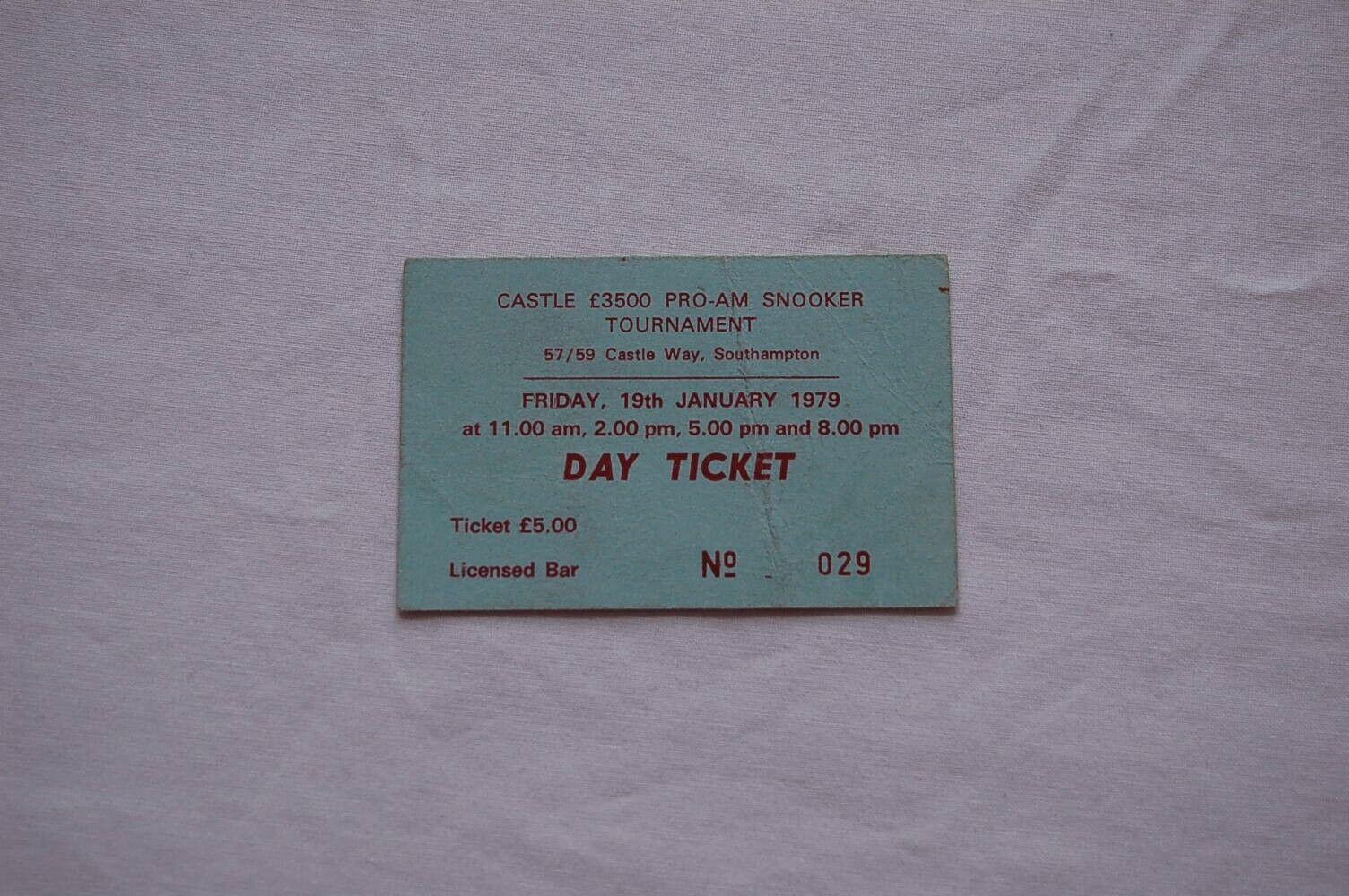 Castle Pro-Am Snooker Tournament Southampton 1979 Ticket Stub