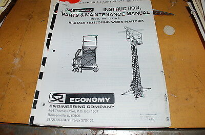 Economy Hi Reach Work Platform Lift Owner Operator Parts Maintenance Manual Book