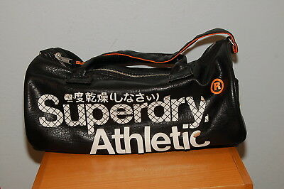 Super Dry Black Label Athletics Duffel Bag Black Leather w/ Orange