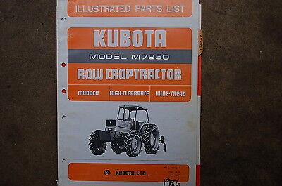Kubota M7950 Row Crop Tractor Parts Manual Book Catalog List Spare Farm 1986 Oem
