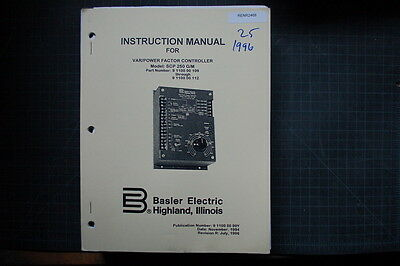 Basler Electric Var Controller Manual Shop Generator Gen Set Industrial Power