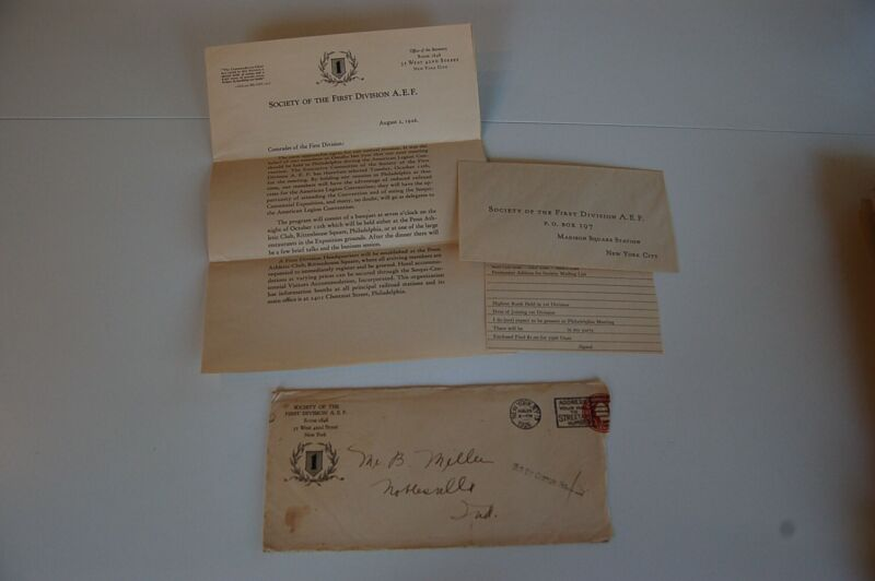 Group of 3 1921 - 1927 Society of First Division A.E.F. Original Letters, etc