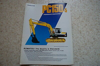 Komatsu Pc150-5 Excavator Crawler Trackhoe Dealer Sales Brochure Catalog Vintage