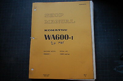 Komatsu Wa600 Front End Wheel Loader Service Repair Rubber Tire Shop Manual 1985