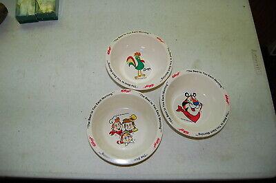 3 Vtg 1995 Kelloggs Cereal Bowls, Tony Tiger Corny Snap Crackle Pop