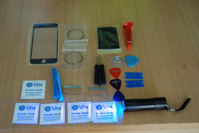 iPhone 6 Front Glass Repair Kit Black, Loca Glue, Wire, More With Uv Torch