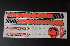 Mongoose PRO RX 10.9 Titanium Stickers Orange, Silver & Black.