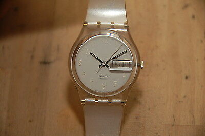 Swatch White Dial and Rubber Band Clear Case Day Date Watch RARE