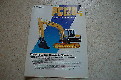 Komatsu Pc120-5 Excavator Crawler Trackhoe Dealer Sales Brochure Catalog Vintage