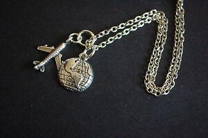 Silver tone aeroplane world globe necklace boho hipster traveler