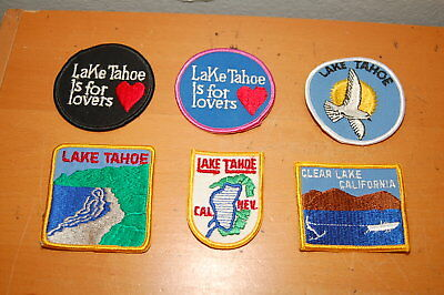 Lot of 6 CLEAR Lake California LAKE TAHOE IS FOR LOVERS CAL NEV PATCH  Patches